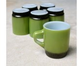 Vintage Set of Six Fire King Collectors Mugs in Avocado Green and Black