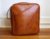 Unisex Burnt Orange Brown Vintage 1970s Luggage Suitcase Tote Bag with Long Shoulder Strap