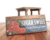 Salvaged Vintage Wooden Fruit Crate with Product Ad Sugar Sweet Grapes for Rustic Home Decor