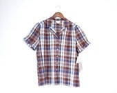 Vintage 1970s Country Suburban Brown and Blue Plaid Button Up Blouse NOS Size M