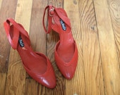 Red Vintage High Heels 1980s Leather Pumps with Ankle Strap Size 7.5