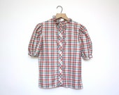 1970s Vintage Plaid Ruffled Capped Sleeve Blouse Size Small