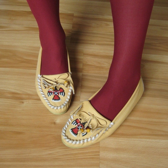 Vintage Leather Moccasin Flats. 1980s NUDE Top Fringe White Woven Vamp with Firebird Size 7.5/8