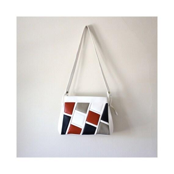 Vintage Colorblock Red White and Blue Vegan Handbag