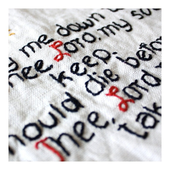 Vintage Embroidered Linen The Lords Prayer