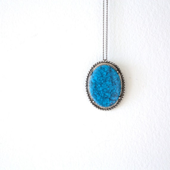 Vintage Turquoise Blue 1960s Pendant Necklace or Brooch