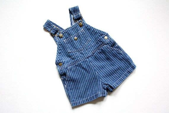 Boys Denim Overalls Toddler Vintage 18 Months Navy Blue Onesie with Pinstripes by Hush Puppies