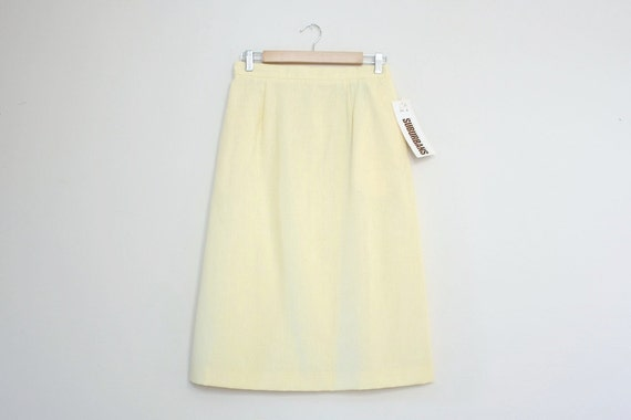 Vintage Light Yellow Pencil Skirt Country Suburbans NOS Size M