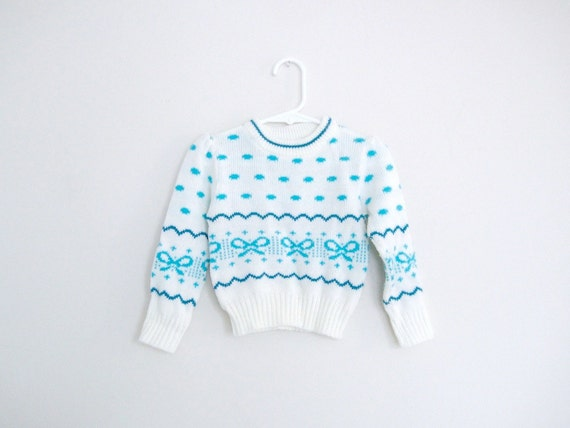 Toddlers Vintage Teal Blue Clouds and Ribbons Girls Sweater