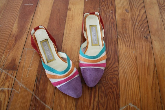 Vintage Andrew Geller Summer Flats 1980s Color Block Sandals Size 8.5