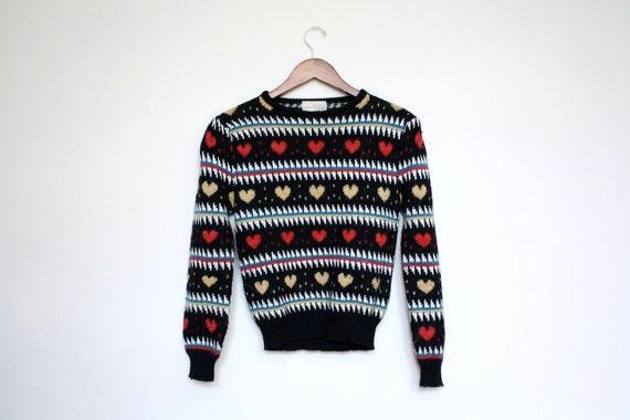 Vintage Novelty Hearts Knit Sweater 1970s Size S M