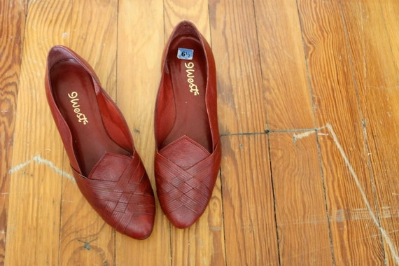 Vintage 1980s Leather Wedge Flats Size 6.5