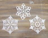 Big Crochet Snowflakes - christmas decoration ornament - Set of 3