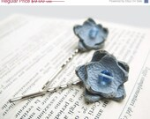 Spring SALE 50% OFF Ice blue leather flower hair clips bobby pins - set of 2