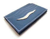 Business card blue leather Wallet Holder