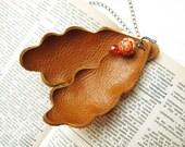 Orange Oak leafs leather pendant SALE