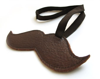 Moustache Shaped Brown leather Luggage Tag
