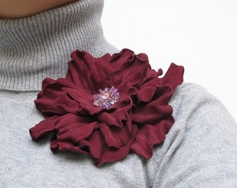 Dark  red suede leather flower brooch, statement brooch, cocktail pin, leather jewelry, gift for her, leather flower, Rose brooch