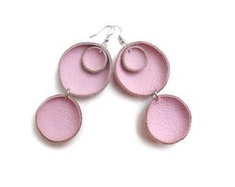 Pink leather circle earrings, Geometric Leather Earrings, pastel lightweigh earrings, boho tribal earrings, gift for her