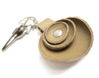 Ochre beige leather key fob