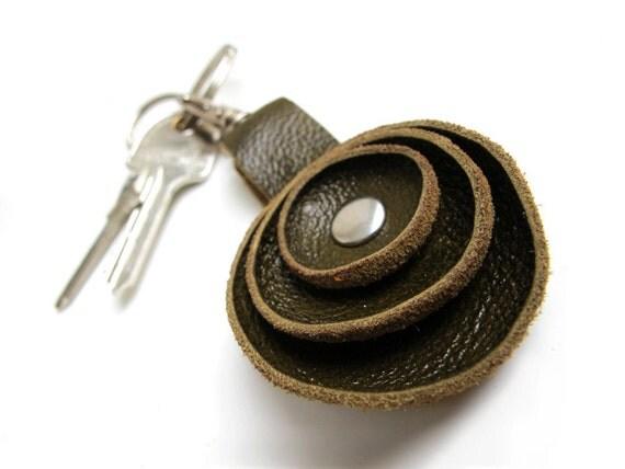 Dark olive green leather key fob