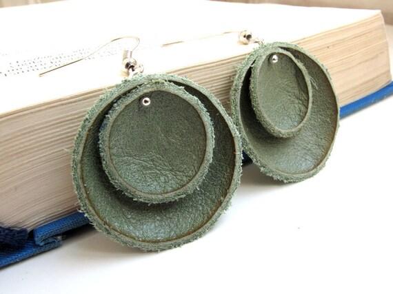 Asparagus green leather earrings