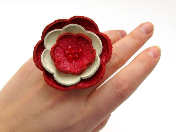 Red and cream leather flower ring