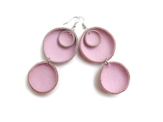 Pink leather circle Earrings SALE