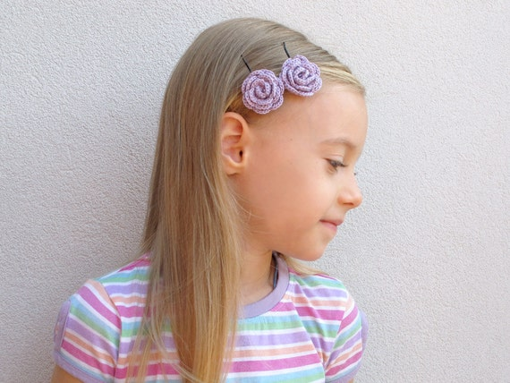 Lavender crochet flower hair pins - Set of 2
