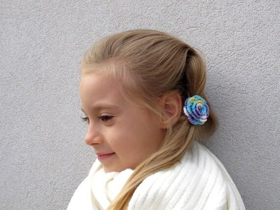 Lavender white variated crochet flower elastic hair ties - Set of 2