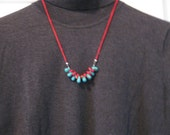 Turquoise and Coral Necklace, OOAK