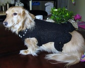 Handknit Little Black Dress with Pearls for Small Dog or Cat GREAT FOR HOLIDAY PARTIES