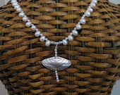 Silver Clamshell and Pearl Necklace