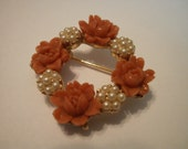 Lovely vintage faux coral and faux pearls in goldtone wreath brooch pin