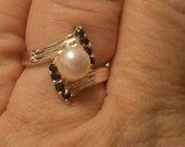 Vintage Sterling Silver Pearl and Sapphire Cocktail Style Ring Size 7