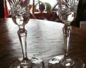 """Vintage Miller Rogaska 6"""" Cut Lead Crystal Candlesticks Signed"""