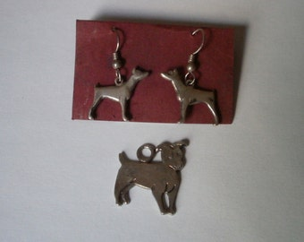 Vintage Sterling Silver Dog Pendant and Earrings