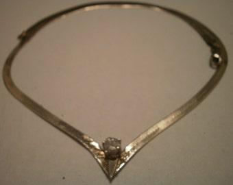 "Vintage 18"" Sterling Silver Serpentine Chain with Gemstone"