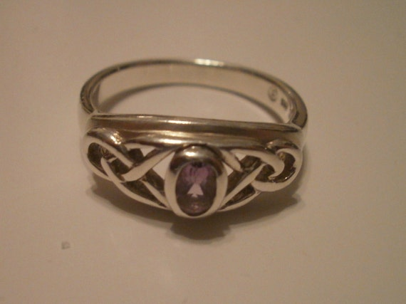 Celtic Design Sterling Silver with Amethyst Stone Ring, Size 7.5