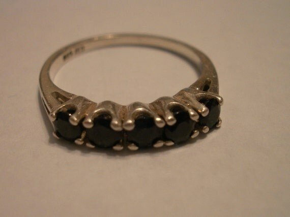 Vintage Sterling Silver Wedding/Eternity/Stacking Ring with Five Sapphires Size 7
