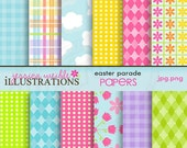 Easter Parade Cute Digital Backgrounds for Card Design, Scrapbooking, and Web Design