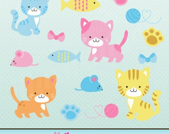 Cute Kittens Cute Digital Clipart for Card Design, Scrapbooking, and Web Design