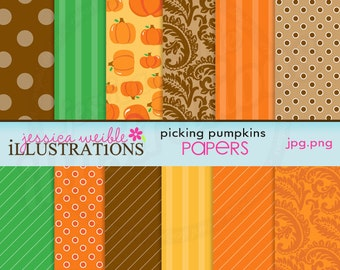 Picking Pumpkins Cute Digital Papers Backgrounds for Card Design, Scrapbooking, and Web Design
