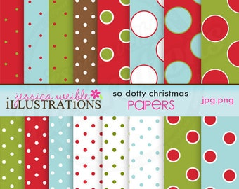 So Dotty Christmas Cute Digital Papers for Card Design, Scrapbooking, and Web Design