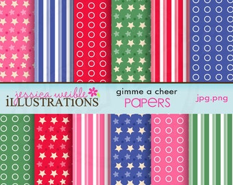 Gimme A Cheer Cute Digital Papers for Card Design, Scrapbooking, and Web Design