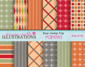 Boy Camp Trip Cute Digital Papers for Card Design, Scrapbooking, and Web Design