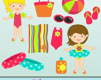 Ready to Swim Girl Cute Digital Clipart for Card Design, Scrapbooking, and Web Design