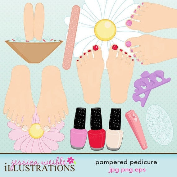 Pedicure Clipart: Pampered Pedicure Cute Digital Clipart By JWIllustrations