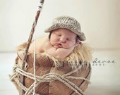 SALE Fishing Hat Crochet PROP plus Fish pick Newborn or 3-9 month sizes