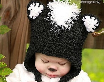 Skunk Crochet Hat